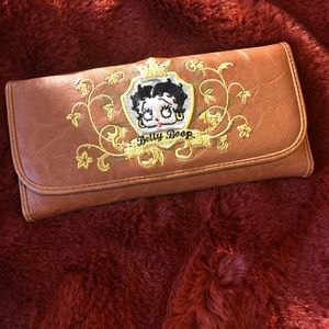 Betty Boop Embroidered Leather Wallet NWOT